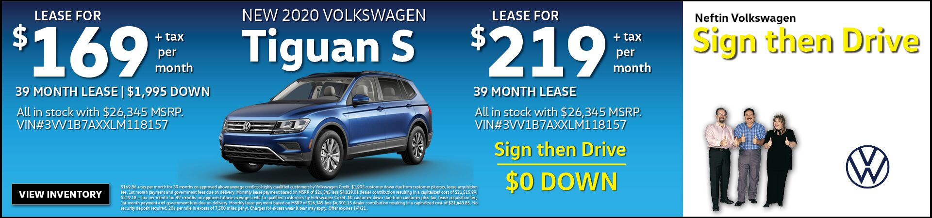 Nov. '20 Tiguan S Lease Offer