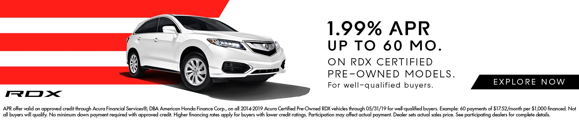 1.99% APR Incentives on Certified RDX at CardinaleWay Acura