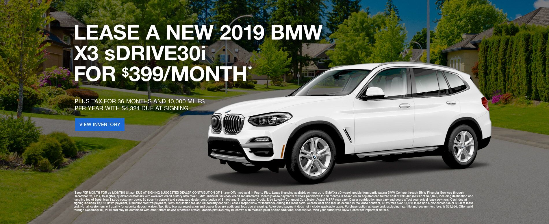 Lease a New 2019 BMW X3 sDRIVE30i