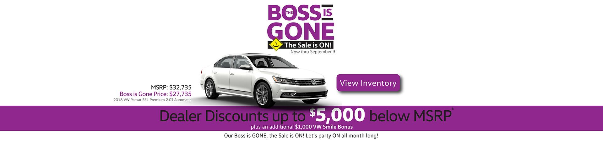 August Capo VW Boss is Gone Sale with discounts up to $6,000 below MSRP