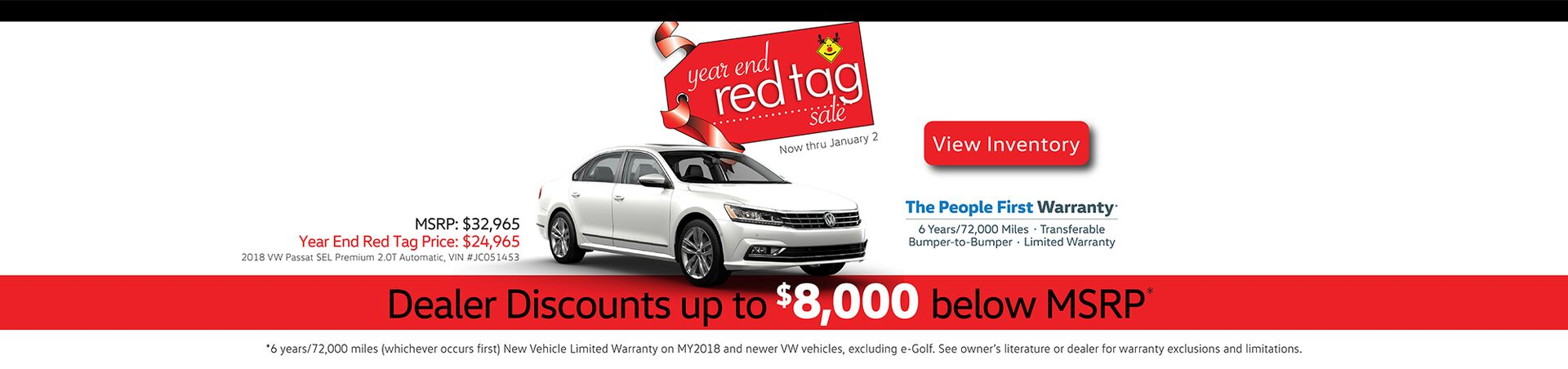 Capo VW Year End Red Tag Sale - Discounts up to $8,000 below MSRP now thru January 2