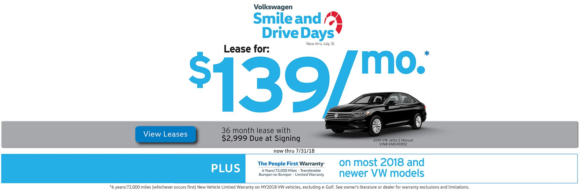 July Smile and Drive Days leases starting at $139/mo.