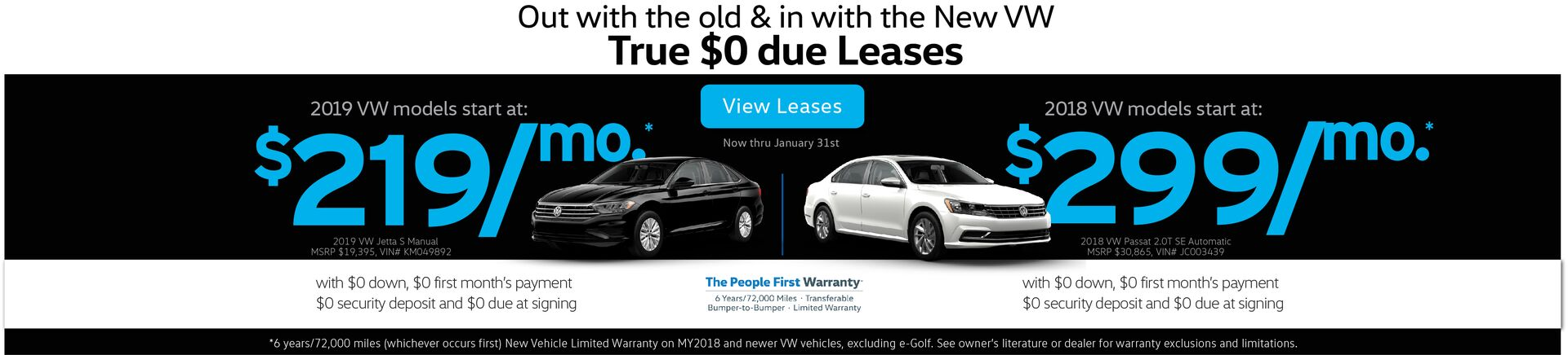 Capo VW New Year Leases as low as $199/mo. with $0 due at signing