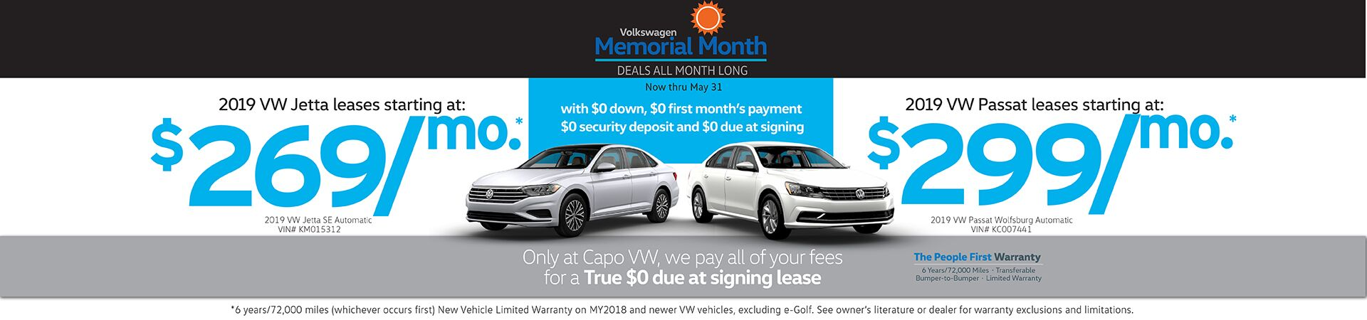 Capo VW Sign then Drive Leases as low as $269/mo. with Absolutely $0 due at signing