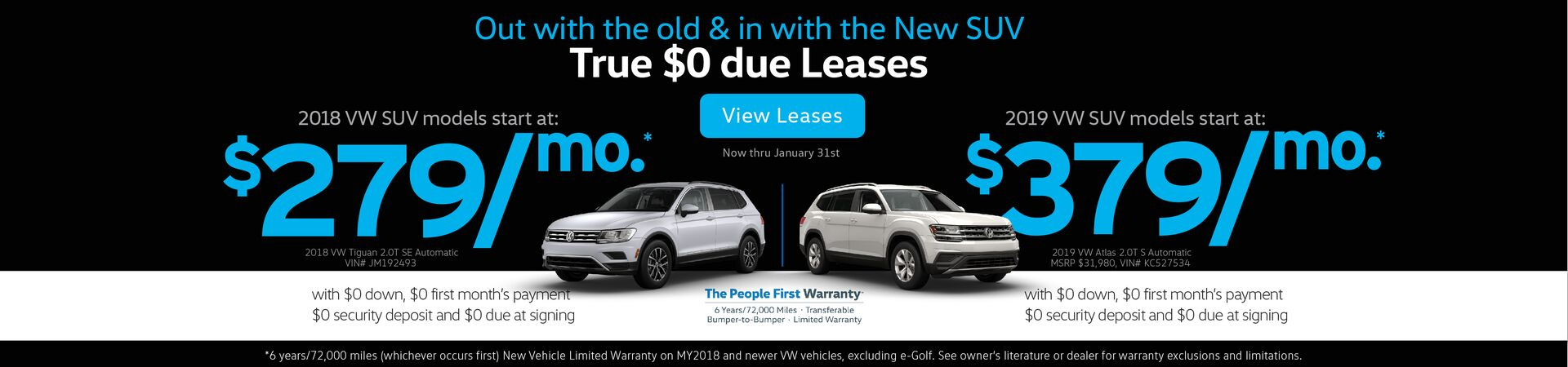 Capo VW New Year Leases on VW SUV models