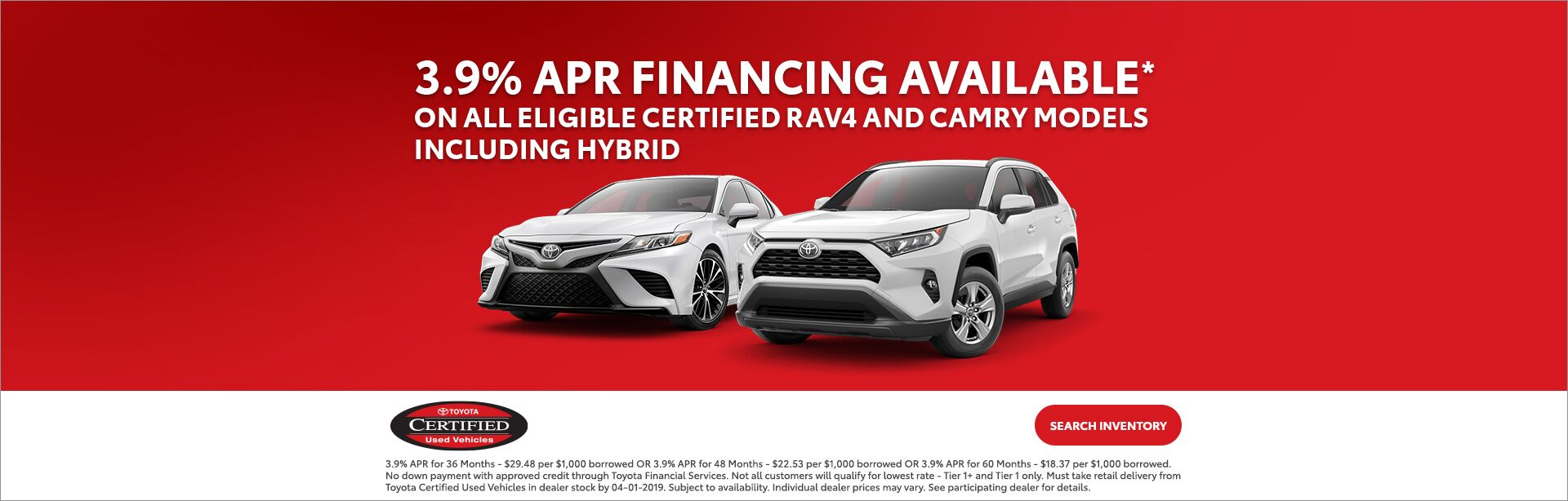 TCUV APR Financing RAV4 and Camry Mar 2019