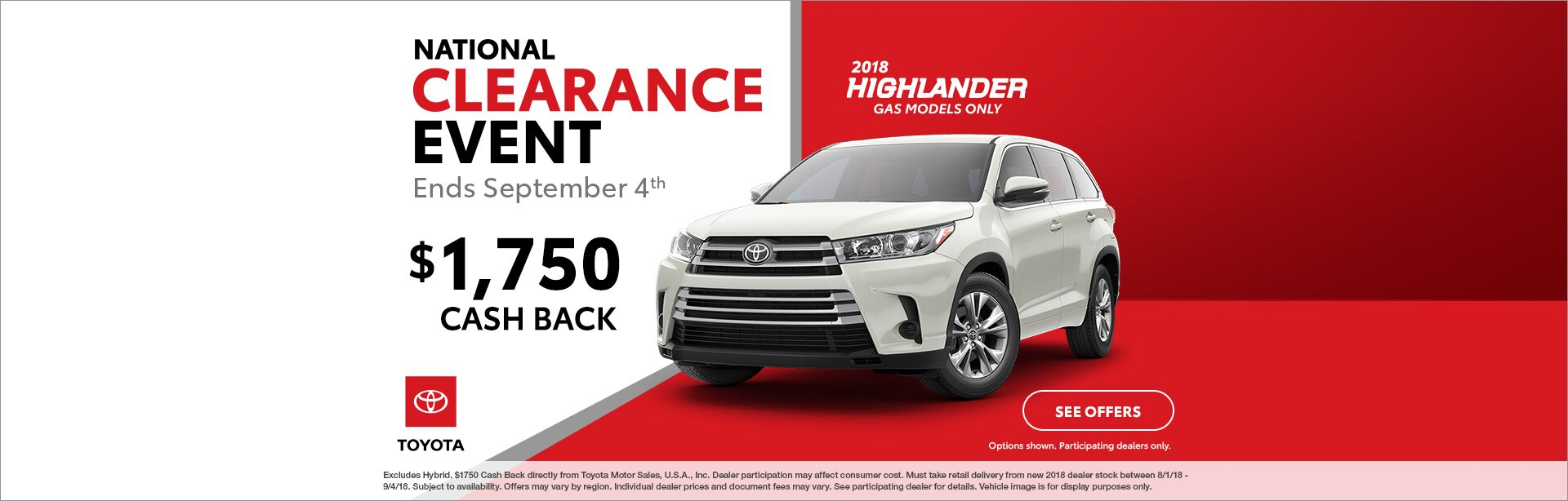 Highlander Cash Back National Clearance Event 2018