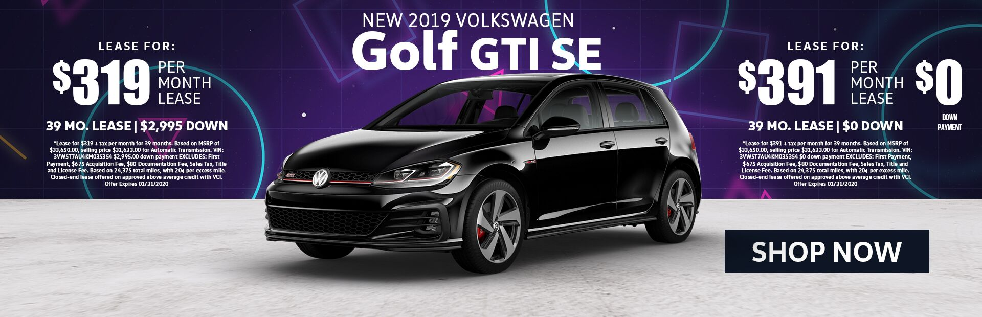 2019 New Golf GTI SE Lease Special