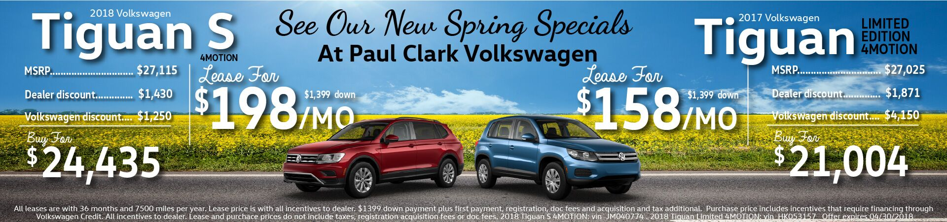 April 2018 Tiguan Offers