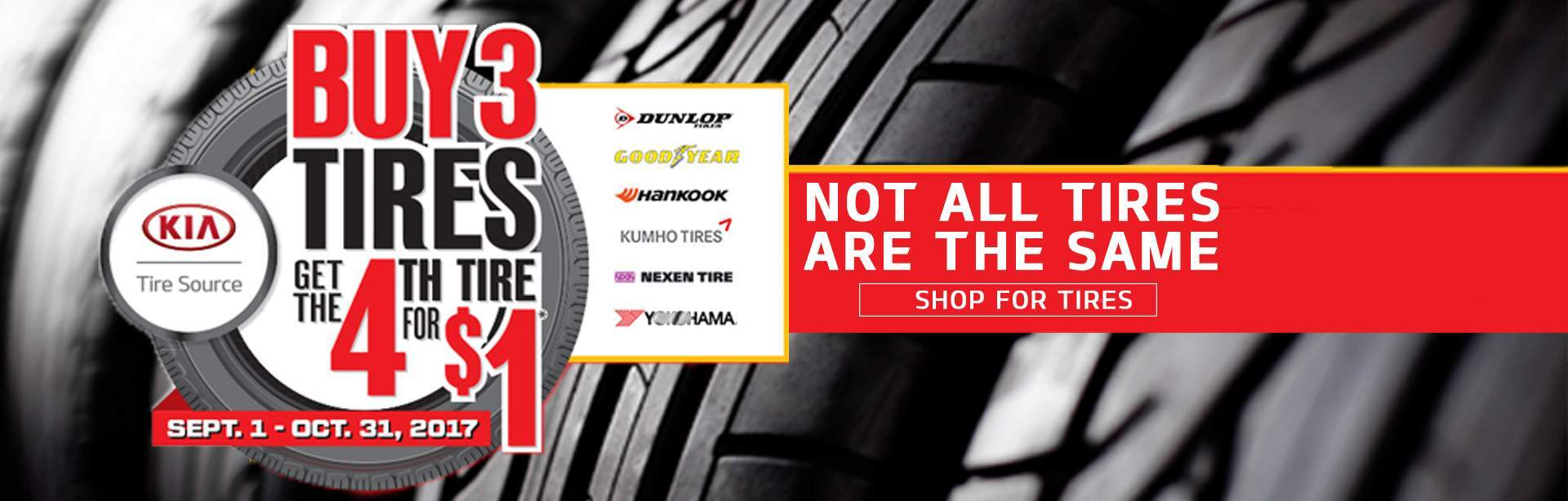 Tire Offer - Buy 3 Get 1 for $1