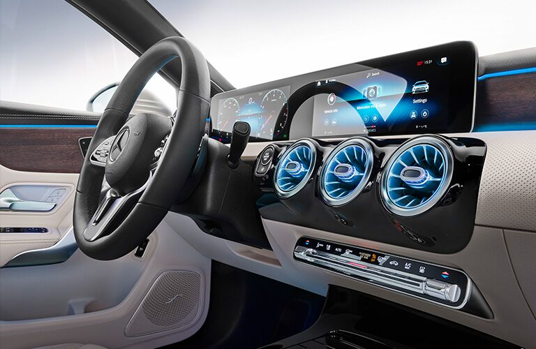 2019 Mercedes-Benz A-Class steering wheel and interior screens