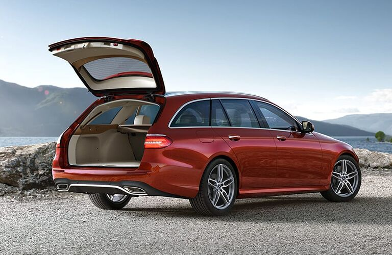 2019 Mercedes-Benz E 450 Wagon red side view hatch open