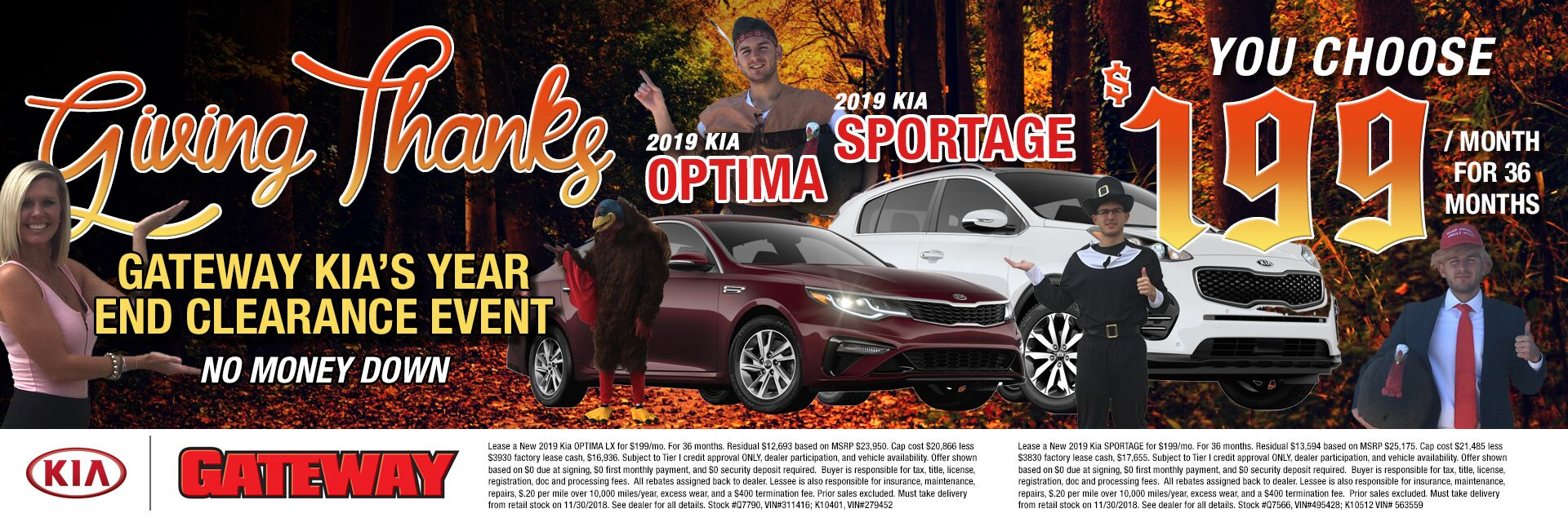 Giving Thanks for Optima or Sportage $199/mo