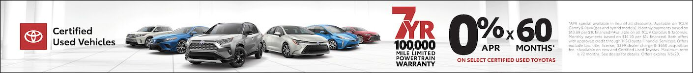 Toyota Certified Used Vehicle Specials!