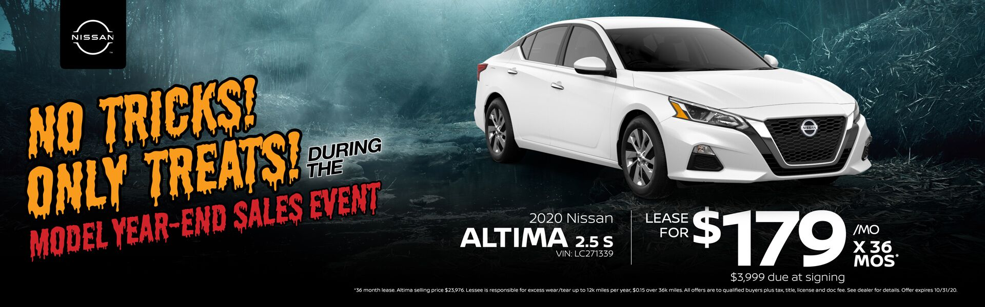 2020 Altima Lease for $179/mo. for 36 mos.