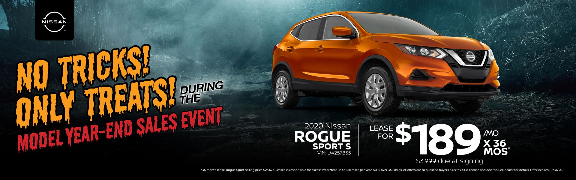 2020 Nissan Rogue Lease for $189/mo x 36 mos.