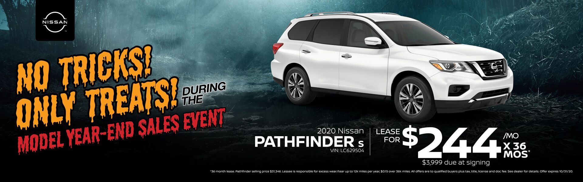 2020 Nissan Pathfinder Lease for $244/mo for 36 mos