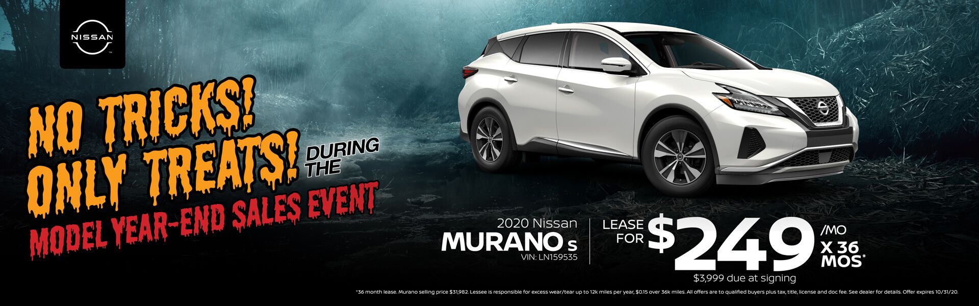2020 Nissan Murano Lease for $249/mo. for 36 mos.
