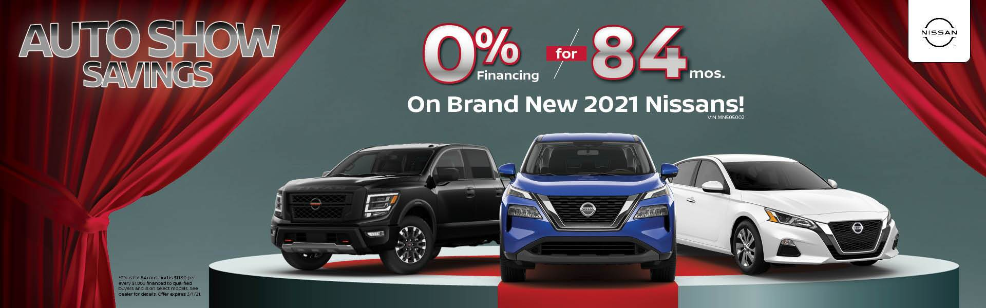 0% for 84mos on Brand new 2021 Nissans