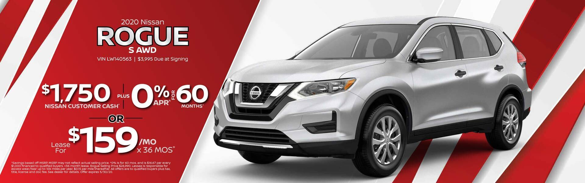 2020 Nissan Rogue $1,750 Nissan Customer Cash PLUS 0% APR