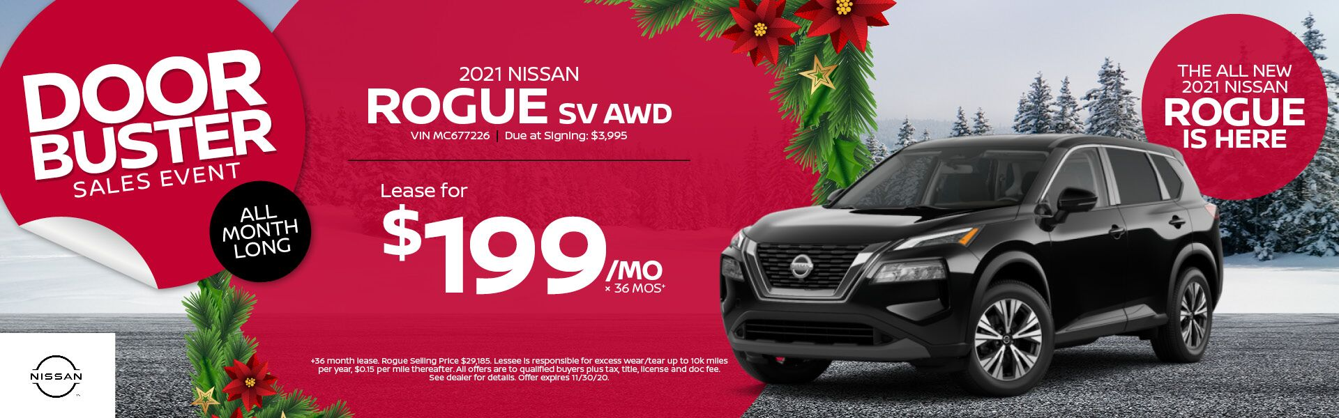 2021 Nissan Rogue Lease for $199/mo x 36 mos