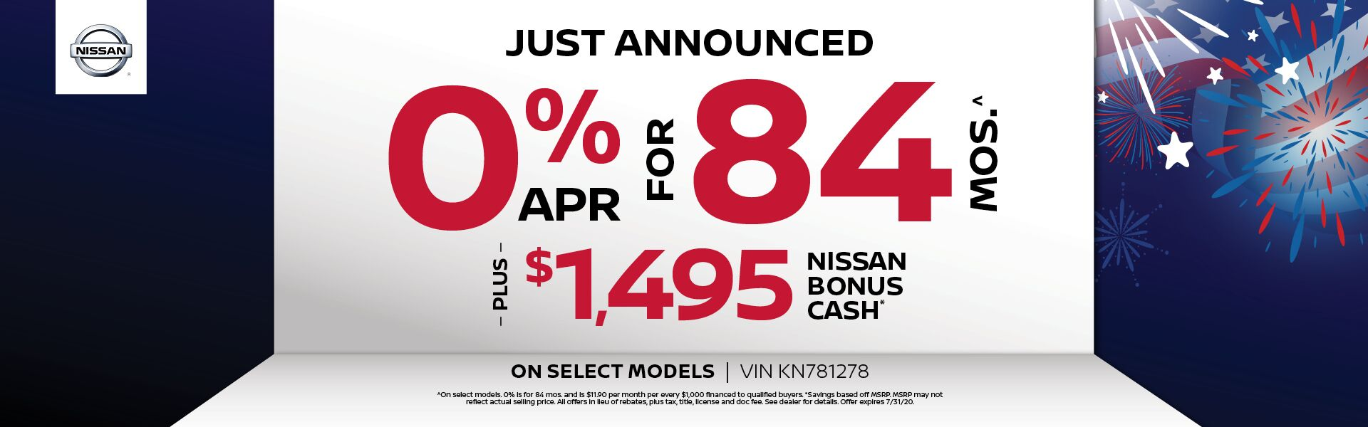 0% x 84 Plus $2500 Nissan Bonus Cash