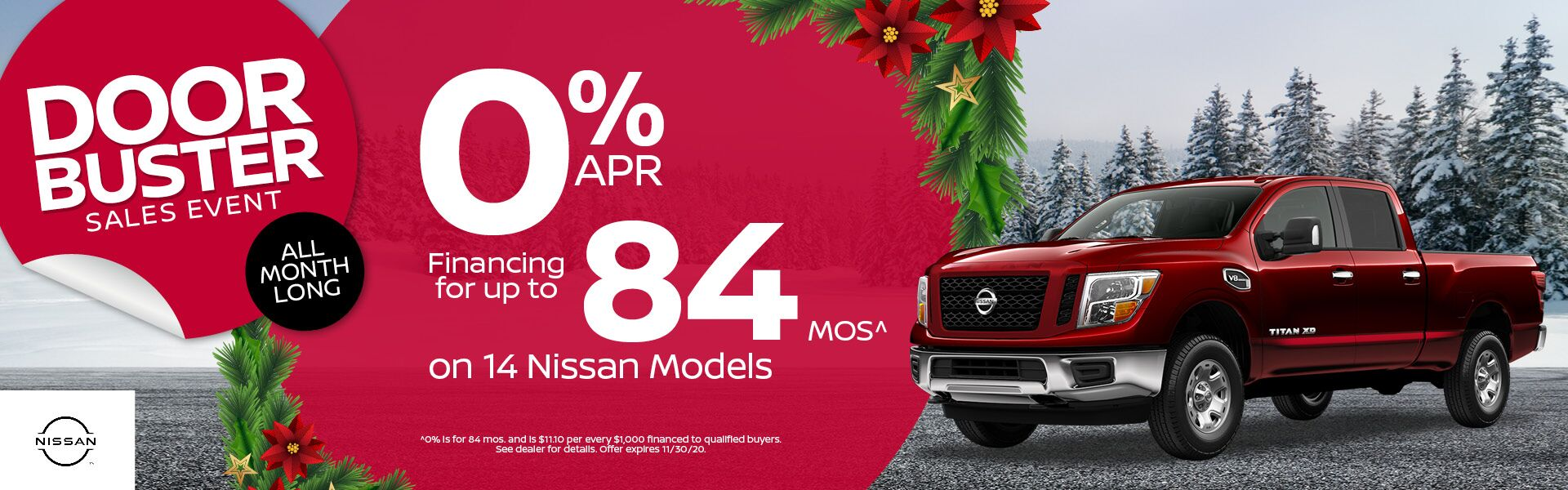 0% for up to 84 mos on 14 Nissan Models