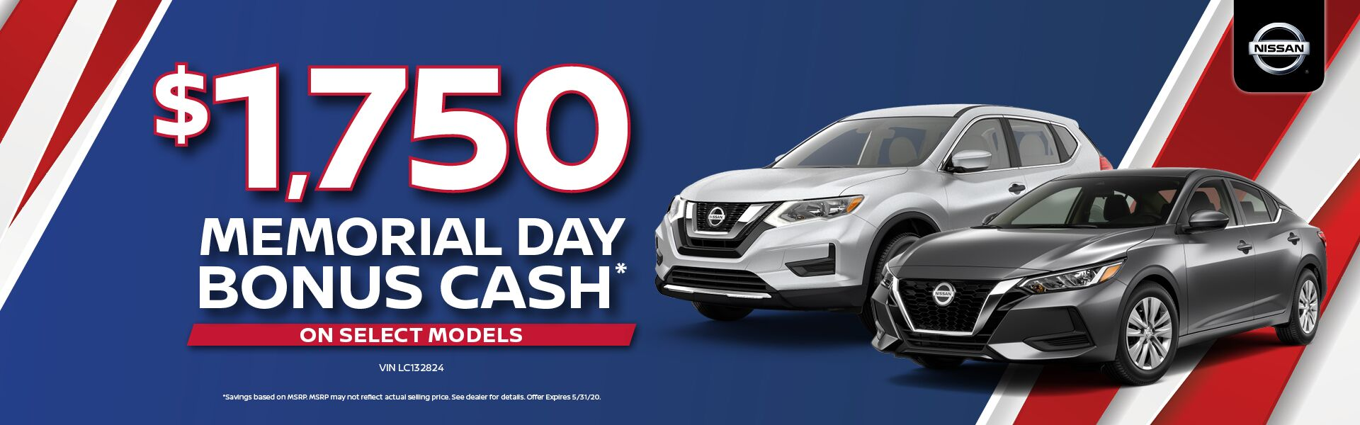 $1,750 Memorial Day Nissan Bonus Cash on Select Models