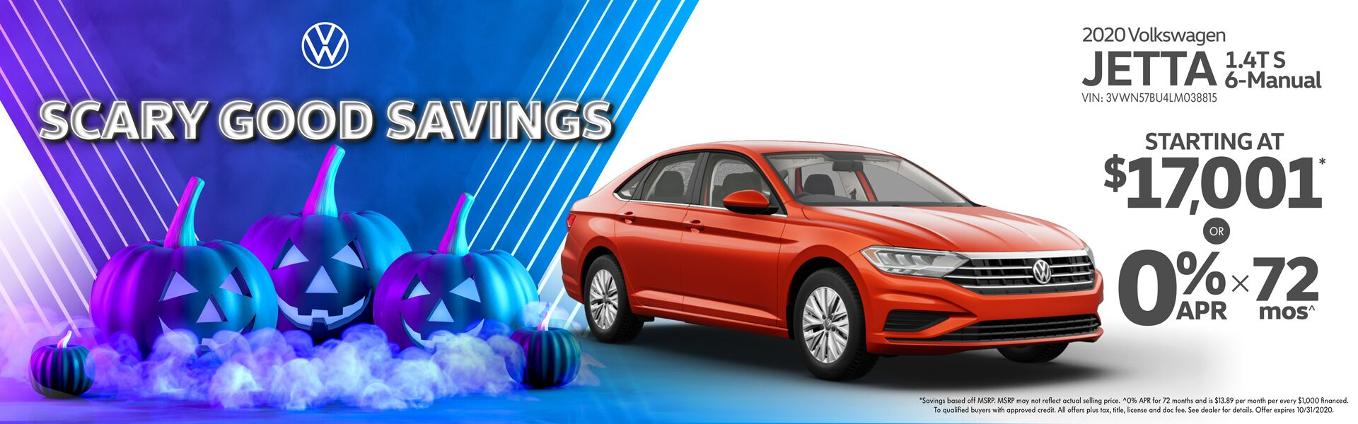 2020 Volkswagen Jetta Starting at $17,001 or get 0% Financing for 72 months!