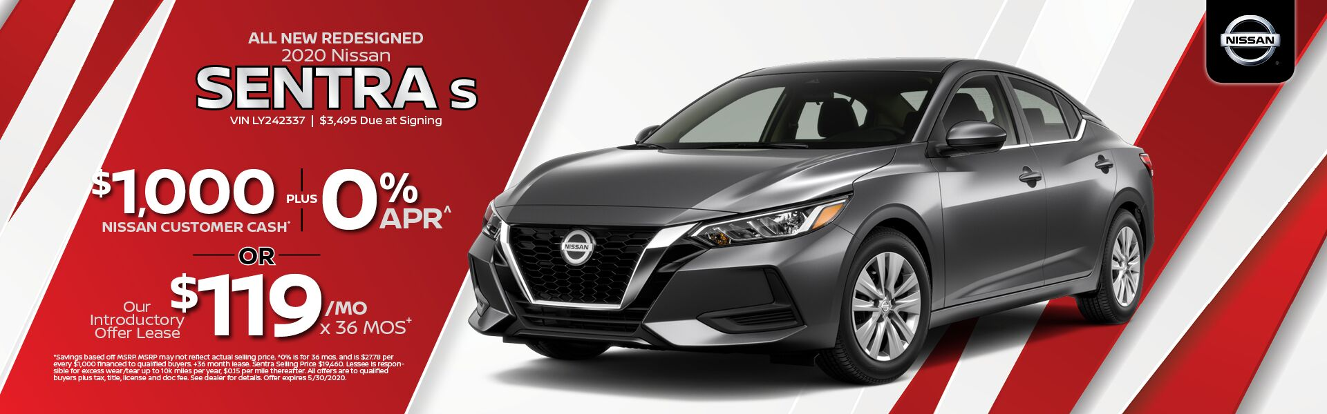 2020 Nissan Sentra $1,000 Nissan Customer Cash PLUS 0% APR
