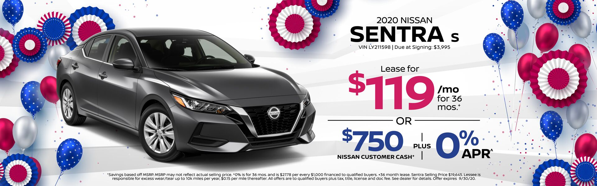 2020 Sentra Lease for $119 mo.