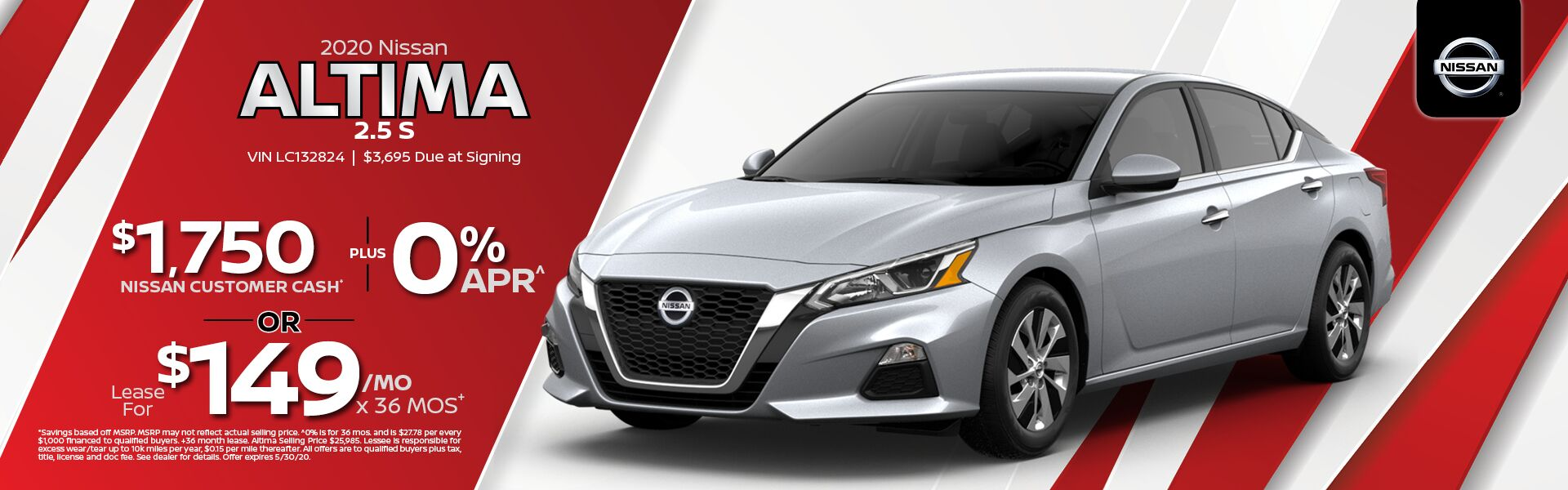 2020 Nissan Altima $1,750 Nissan Customer Cash and 0% Financing
