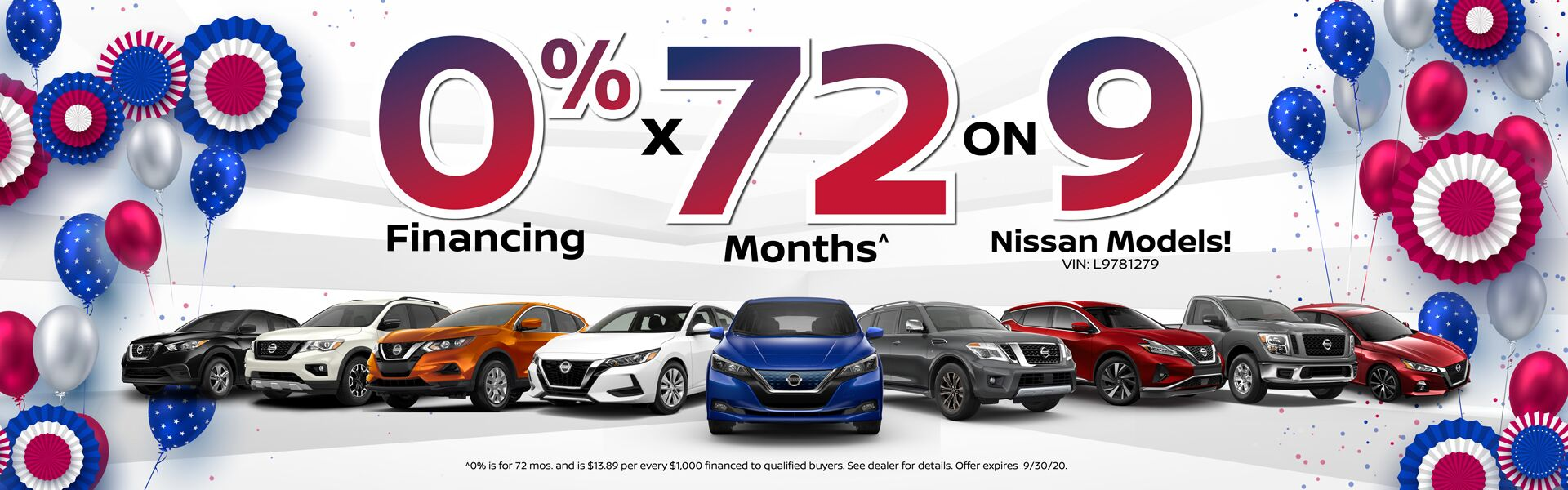 0% x 72 on 9 Nissan Models