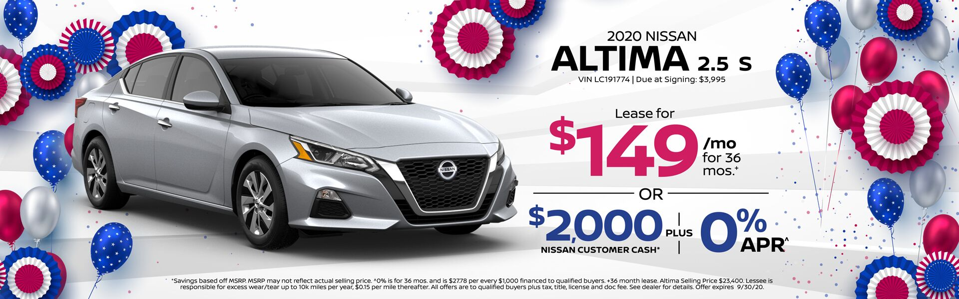 2020 Altima 2.5 S Lease for $149