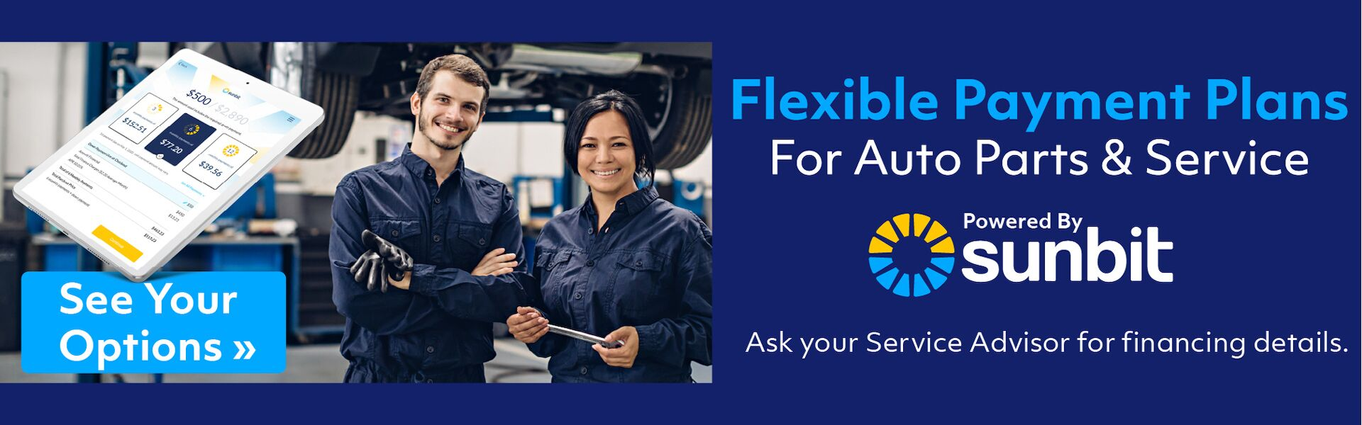 Flexible Payments Plans for Auto Parts & Service