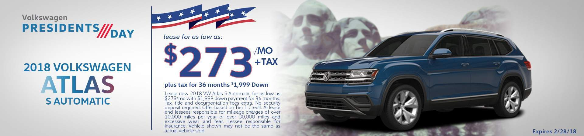 2018 Atlas S lease special