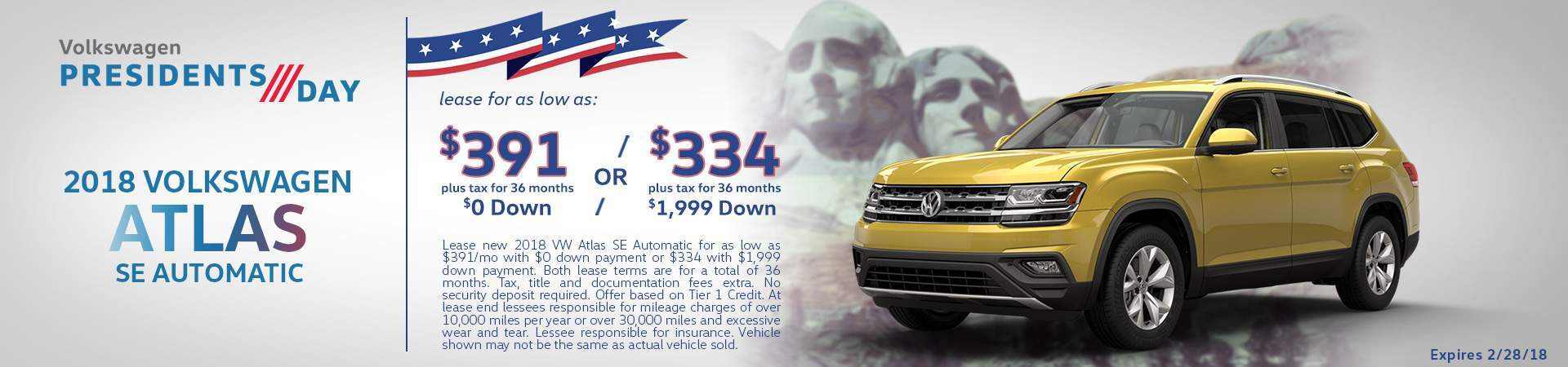 2018 Atlas SE lease specials