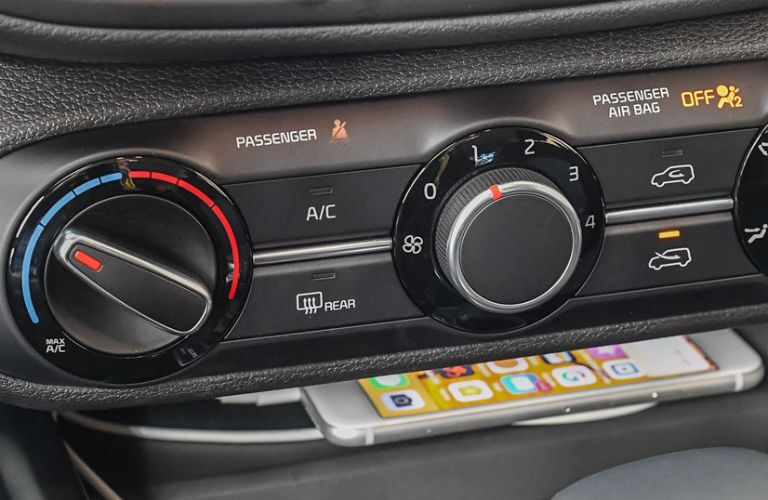 Closeup of climate controls in 2021 Kia Soul