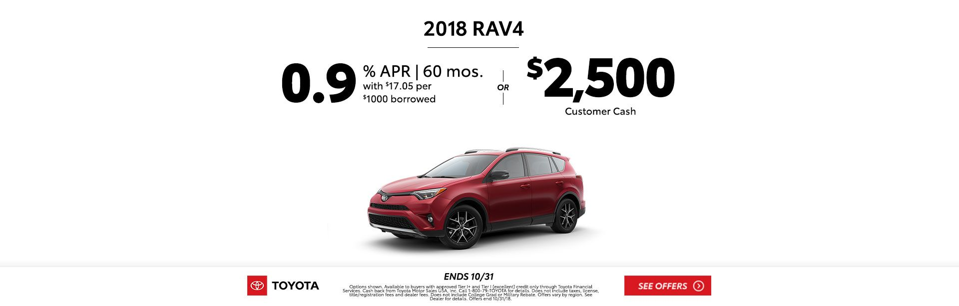 Rav4 Customer Cash Oct 2018