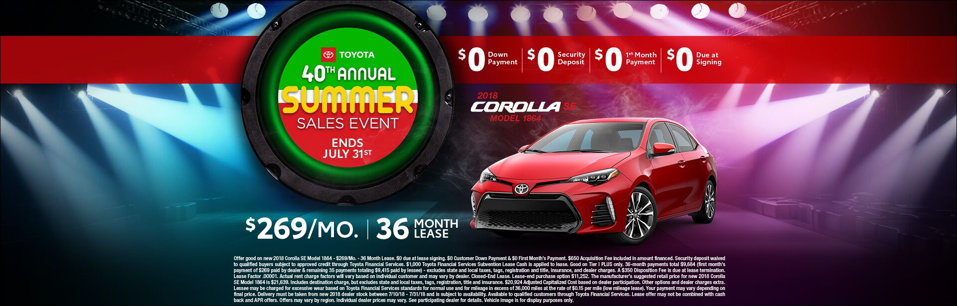 Toyota Summer Sales Event Corolla Lease