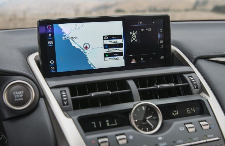 Infotainment display in 2021 Lexus NX