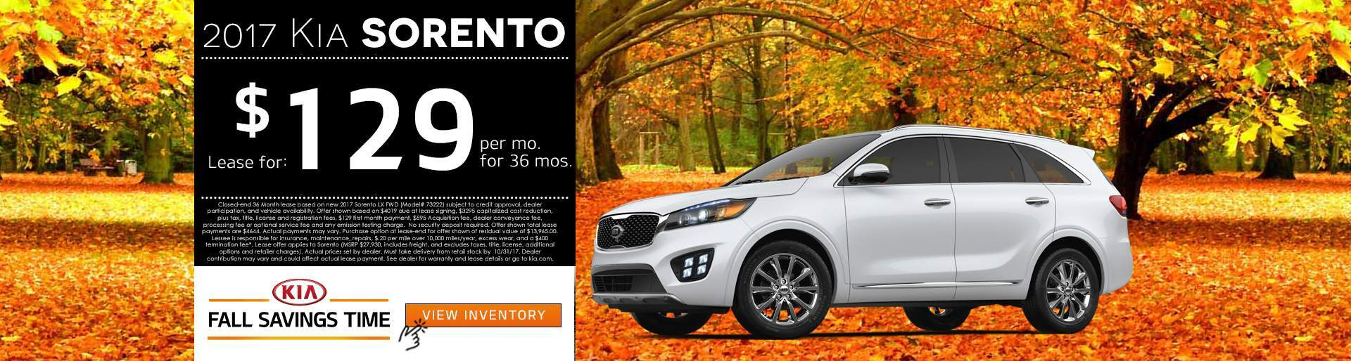 2017 Kia Sorento Lease Offer