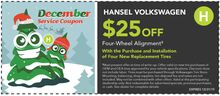 $25 Off Four-Wheel Alignment