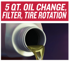 5 qt. Oil and Filter Change with Tire Rotation $39.95