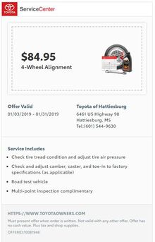 $84.95 4-Wheel Alignment
