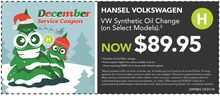 $89.95 VW Synthetic Oil Change