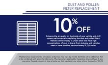 Dust and Pollen Filter Replacement
