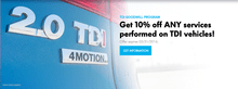 Get 10% off ANY services performed on TDI vehicles!