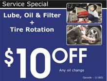 LUBE, OIL & FILTER + TIRE ROTATION