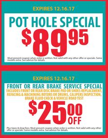 Pot Hole Special and Fornt or Rear Brake Special